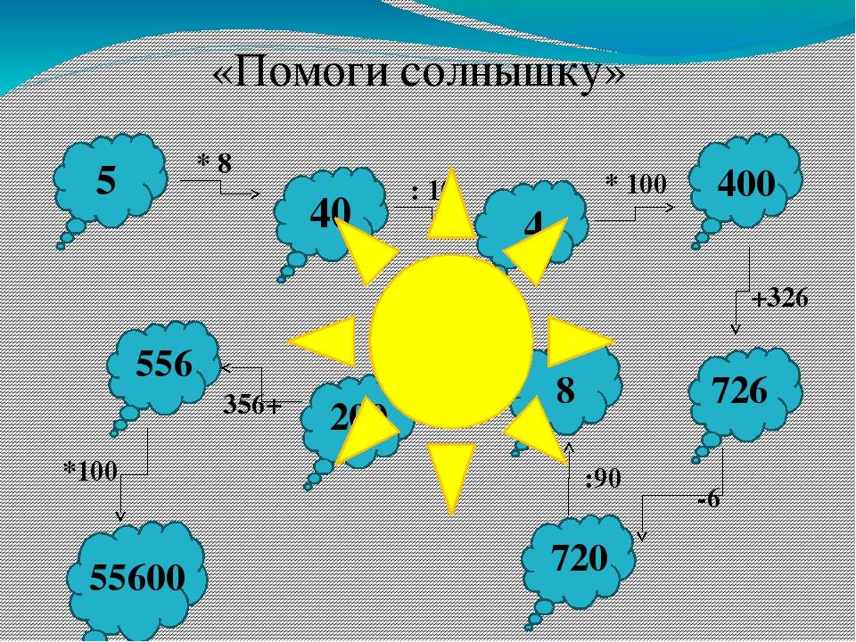 * 8 : 10 * 100 +326 -6 :90 25* 200 356+ *100 «Помоги солнышку» 5 40 4 400 72...