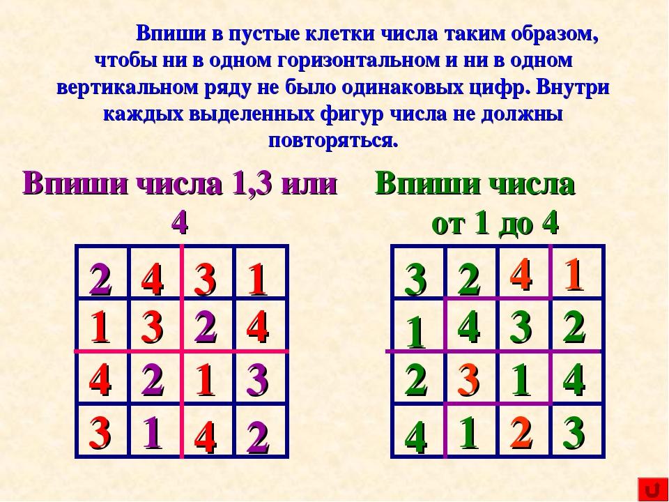 2 2 2 2 3 1 4 1 3 2 Впиши в пустые клетки числа таким образом, чтобы ни в од...