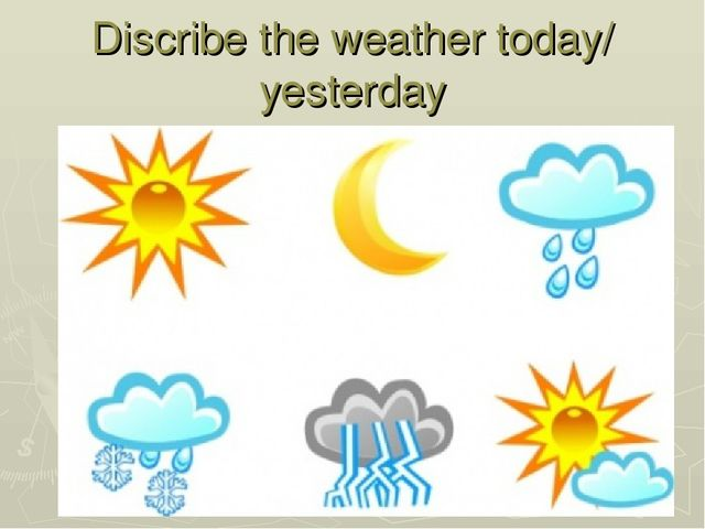Конспект урока английского языка с презентацией по теме Погода  discribe the weather today yesterday