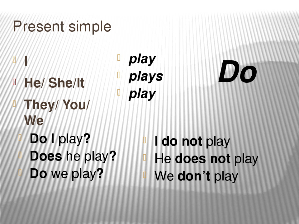 Present simple I He/ She/It They/ You/ We play plays play Do I play? Does he...
