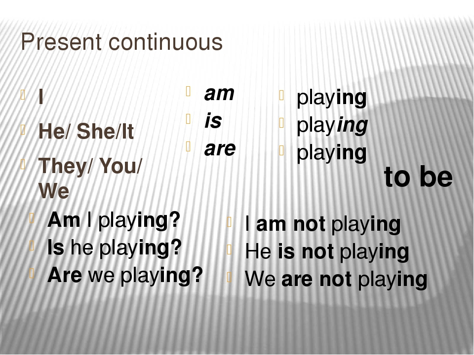 Present continuous I He/ She/It They/ You/ We am is are playing playing playi...