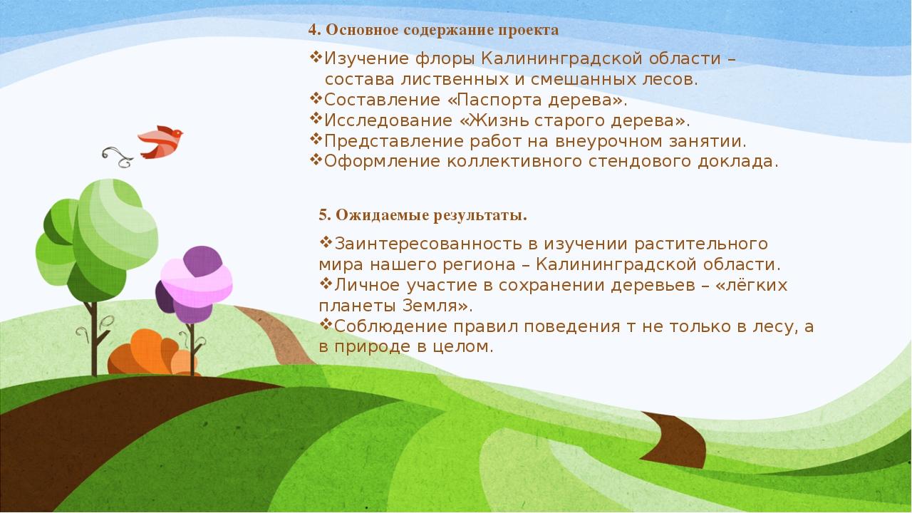 4. Основное содержание проекта Изучение флоры Калининградской области –...