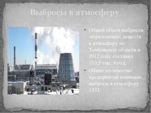 Выбросы в атмосферу Общий объем выбросов загрязняющих веществ в атмосферу по