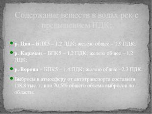 р. Цна – БПК5 – 1,2 ПДК; железо общее – 1,9 ПДК; р. Карачан – БПК5 – 1,2 ПДК;