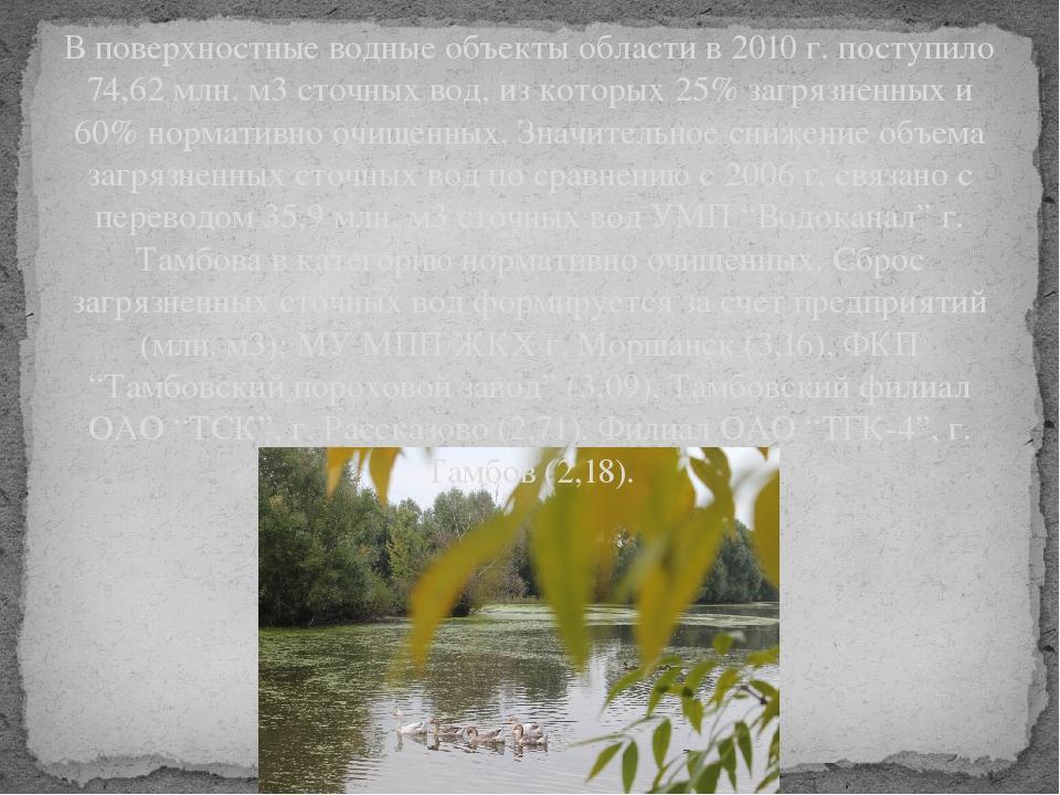 В поверхностные водные объекты области в 2010 г. поступило 74,62 млн. м3 сточ...