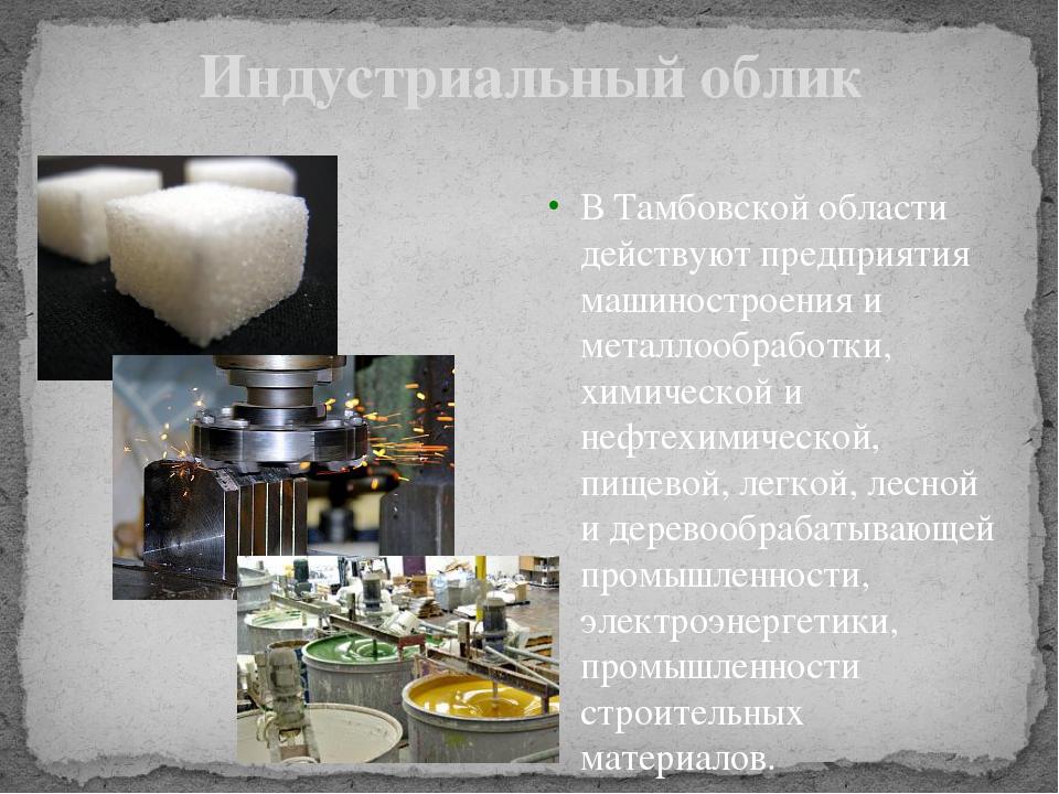 Индустриальный облик В Тамбовской области действуют предприятия машиностроени...