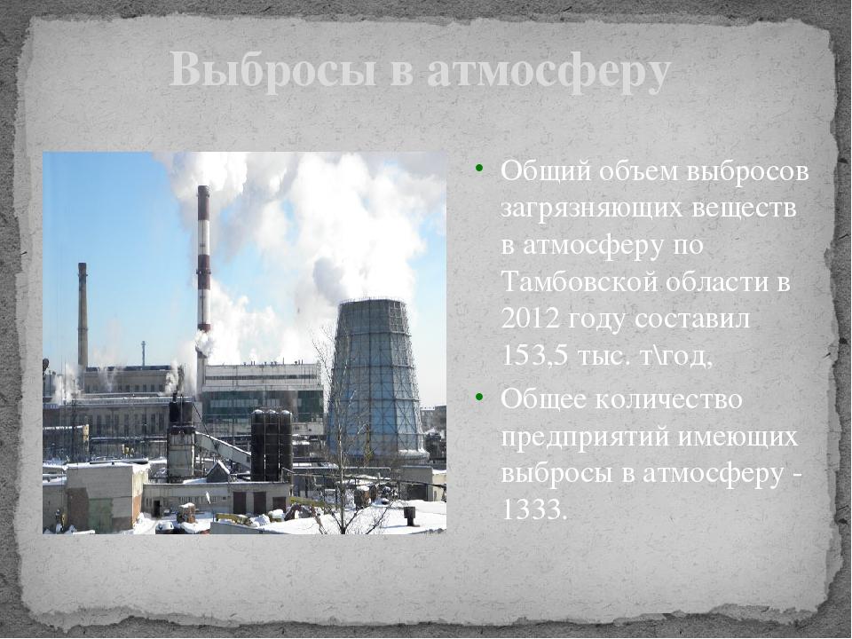 Выбросы в атмосферу Общий объем выбросов загрязняющих веществ в атмосферу по...