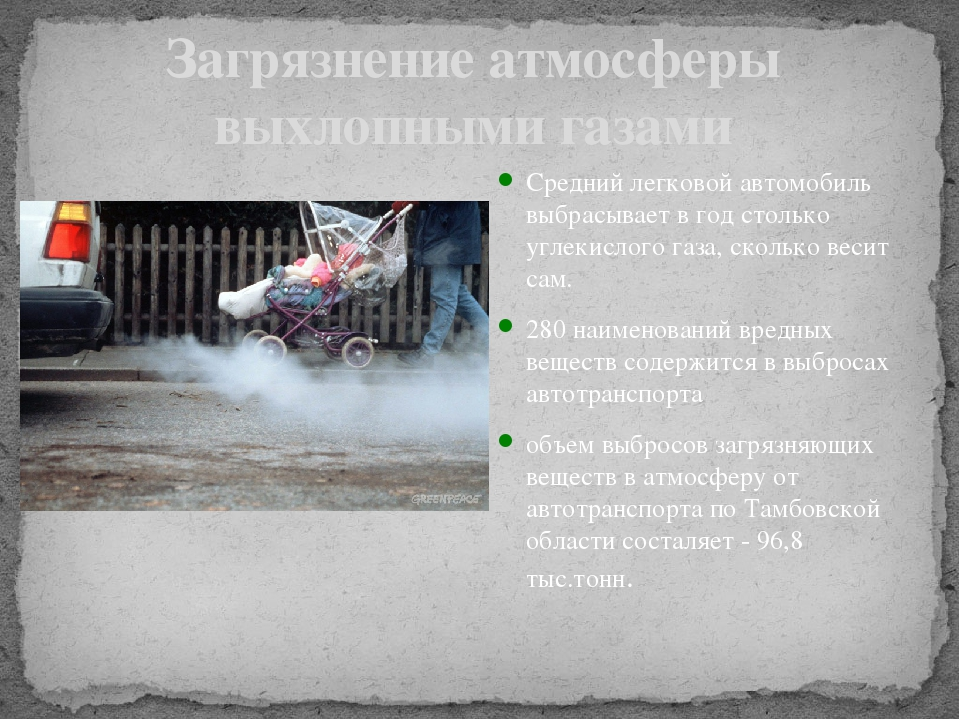 Загрязнение атмосферы выхлопными газами Средний легковой автомобиль выбрасыва...