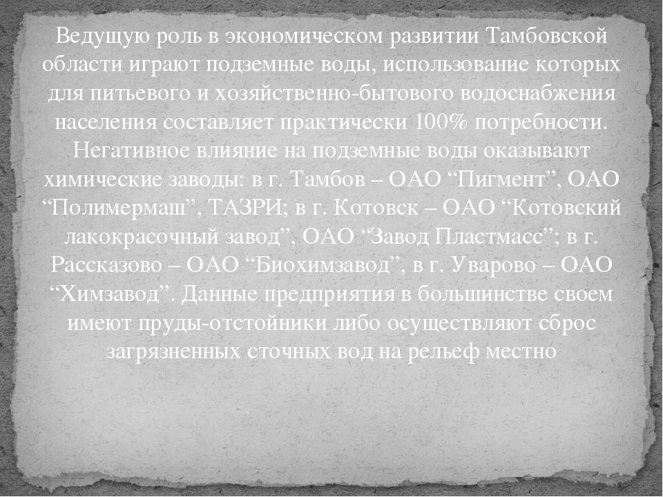 Ведущую роль в экономическом развитии Тамбовской области играют подземные вод...