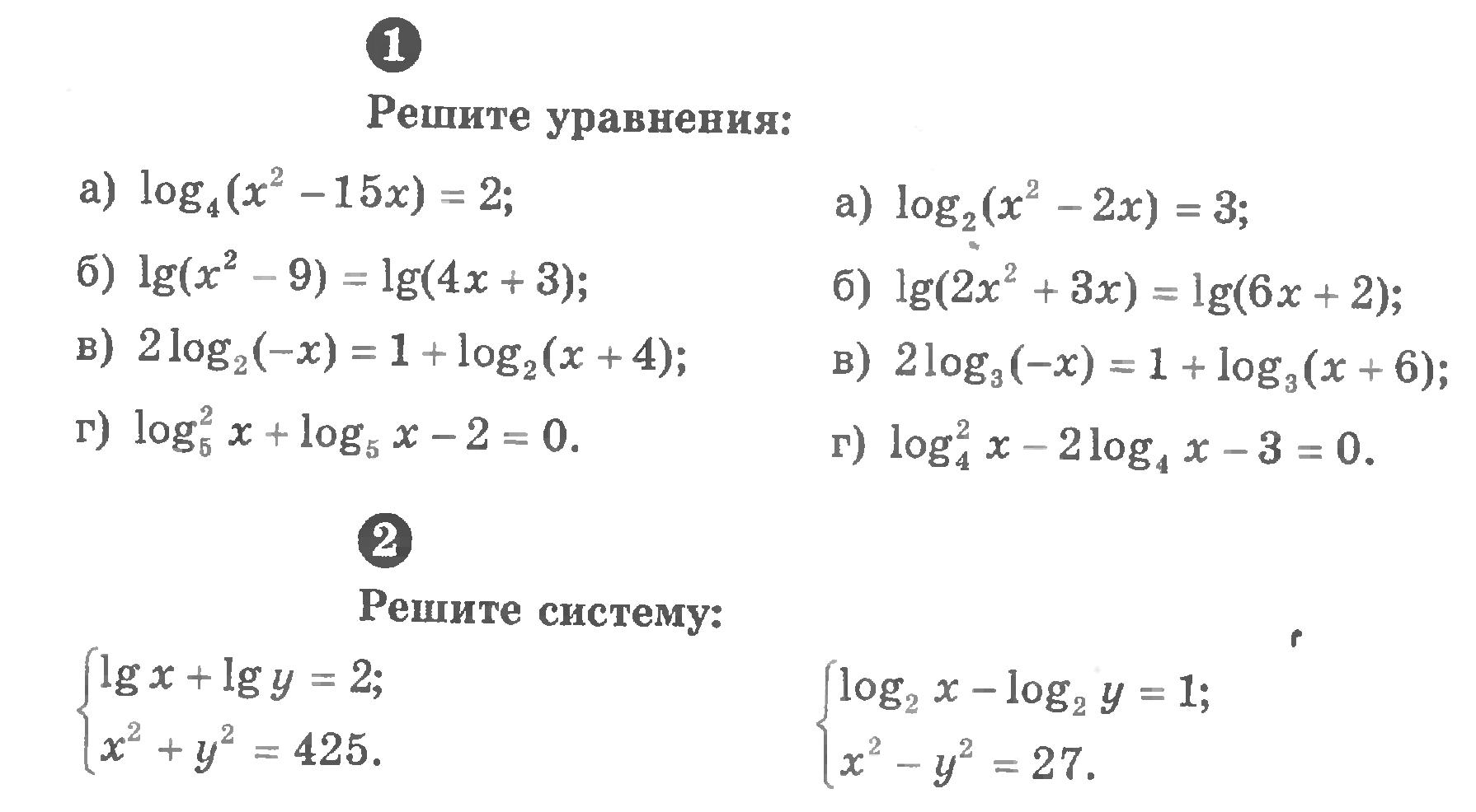 Контрольная работа по теме логарифмы с решением 4807