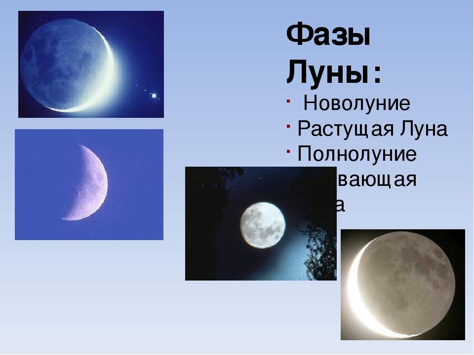 Полная Луна (полнолуние) Молодой месяц Выпуклая Луна