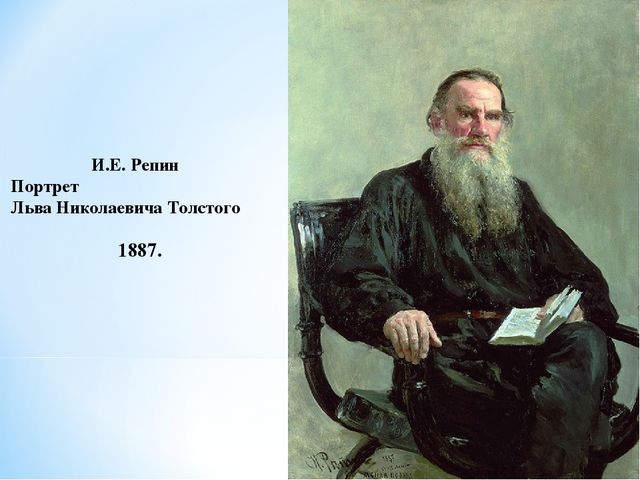 И.Е. Репин Портрет Льва Николаевича Толстого 1887.