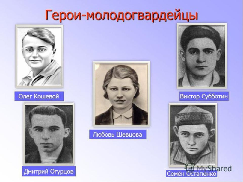 герои молодой гвардии фото имена поможет