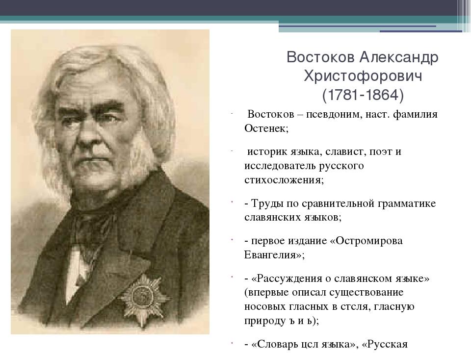 Востоков Александр Христофорович (1781-1864) Востоков – псевдоним, наст. фами...