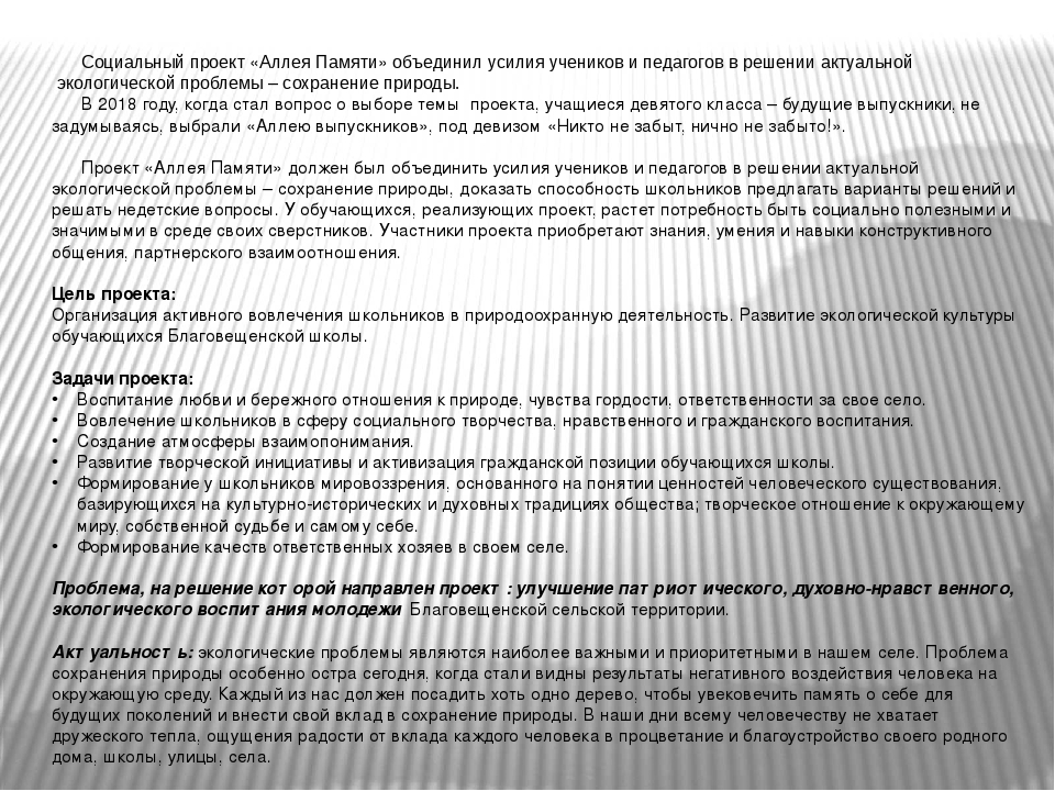 Социальный проект «Аллея Памяти» объединилусилия учеников и педагогов в реш...
