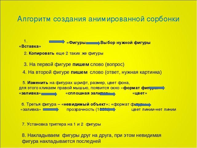 Отчет о практике слушателя профессиональной переподготовки часть  Алгоритм создания анимированной сорбонки Фигуры Выбор нужной фигуры 2 Копи