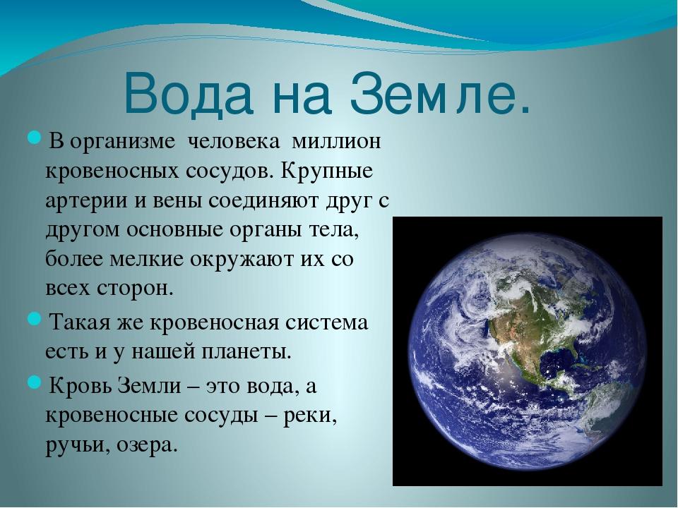 Вода на Земле. В организме человека миллион кровеносных сосудов. Крупные арте...