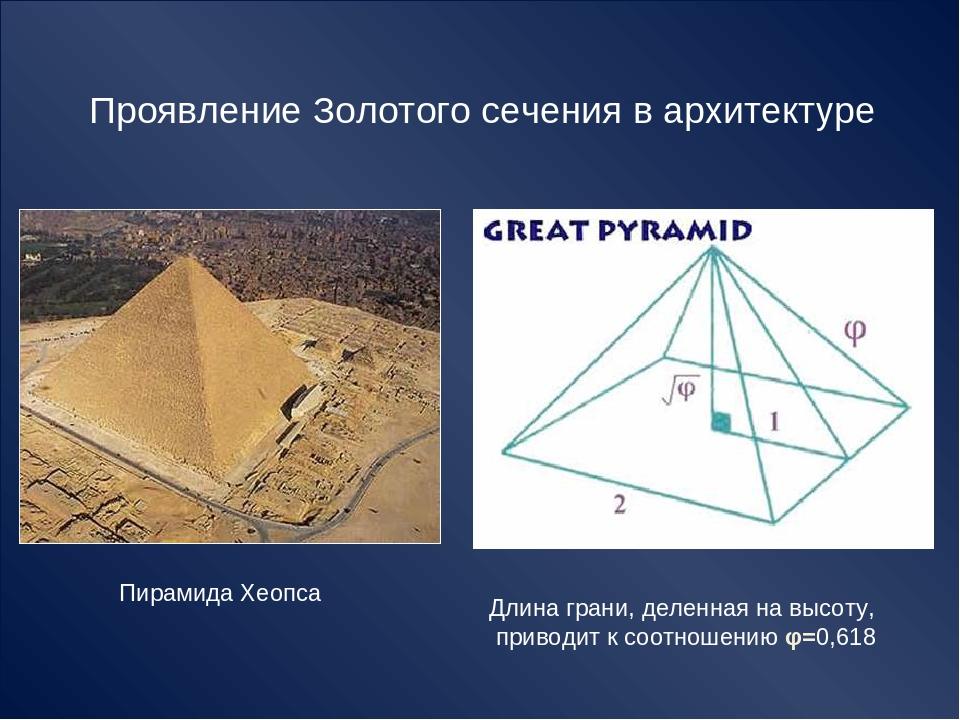 Проявление Золотого сечения в архитектуре Пирамида Хеопса Длина грани, деленн...