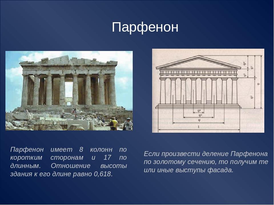 Парфенон имеет 8 колонн по коротким сторонам и 17 по длинным. Отношение высот...