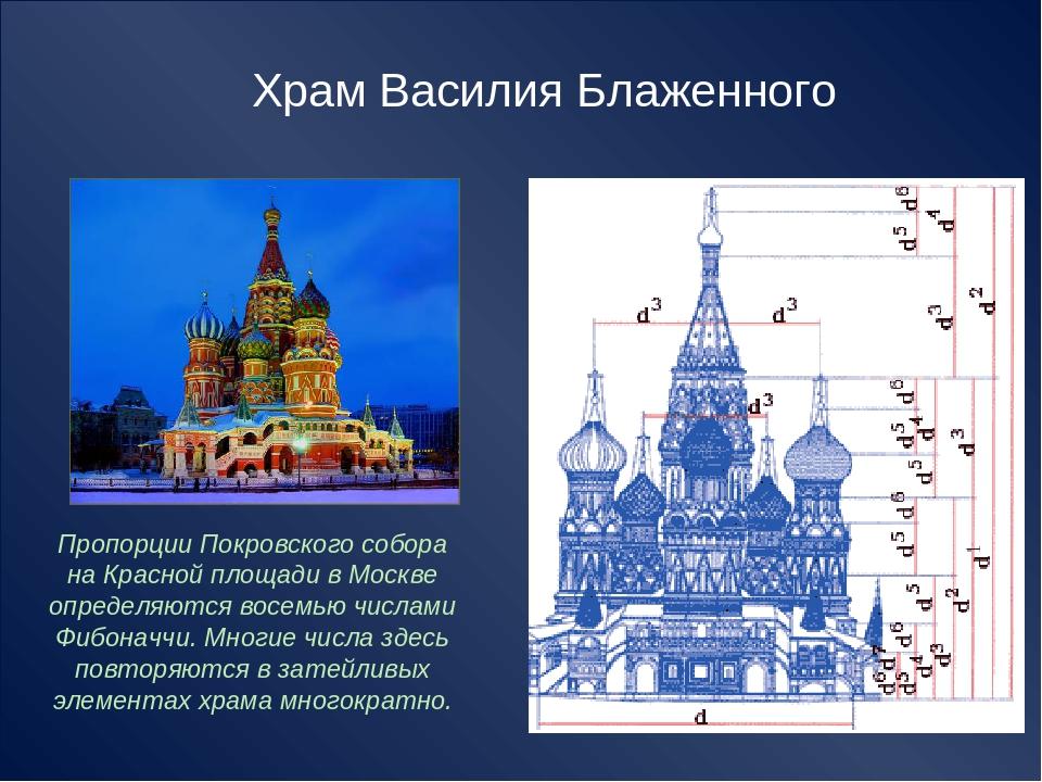 Пропорции Покровского собора на Красной площади в Москве определяются восемью...