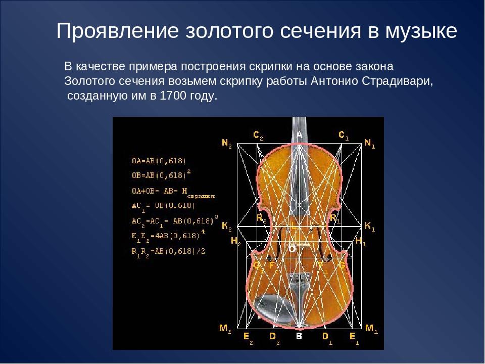 Проявление золотого сечения в музыке В качестве примера построения скрипки на...