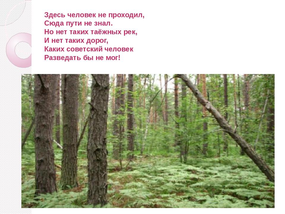 Здесь человек не проходил, Сюда пути не знал. Но нет таких таёжных рек, И нет...