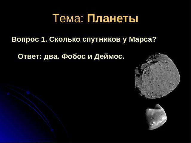 Тема: Планеты Вопрос 1. Сколько спутников у Марса? Ответ: два. Фобос и Деймос.