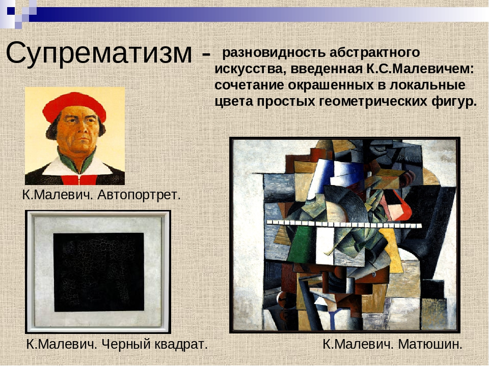 Супрематизм - разновидность абстрактного искусства, введенная К.С.Малевичем:...
