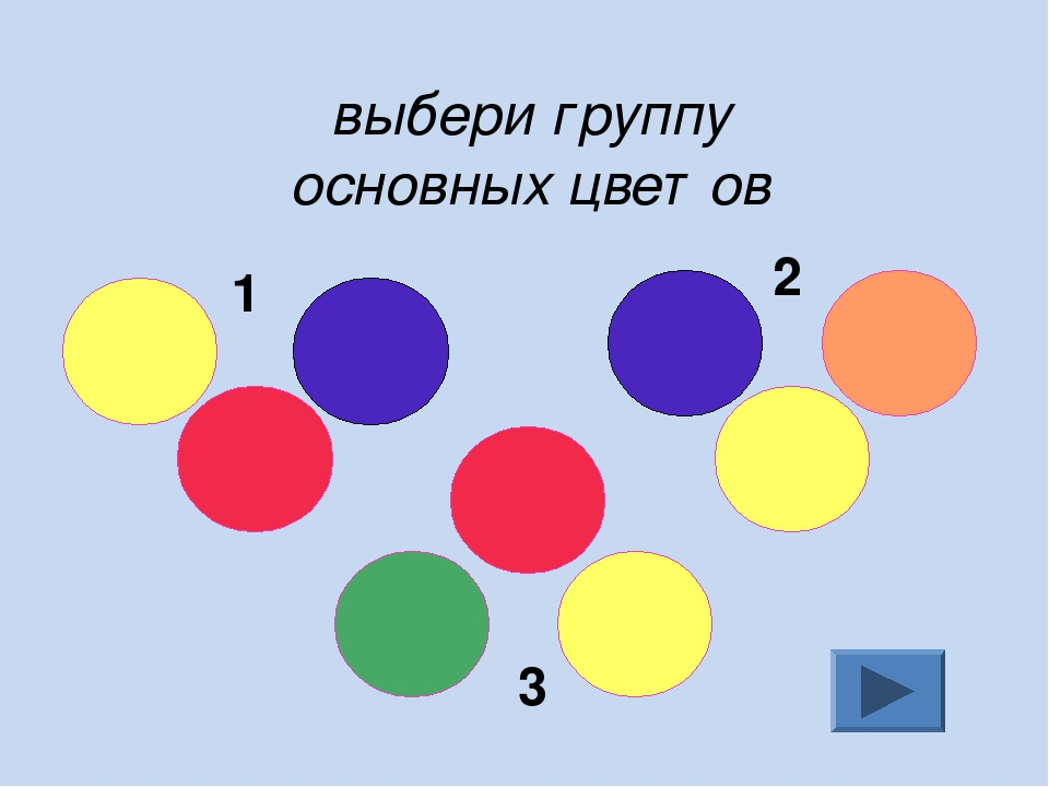 выбери группу основных цветов 1 2 3