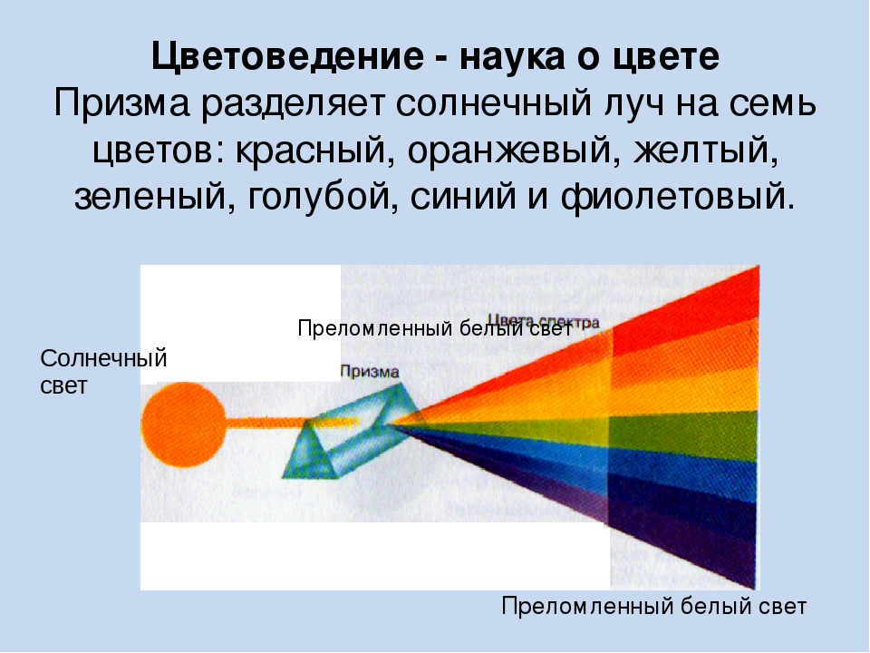Цветоведение - наука о цвете Призма разделяет солнечный луч на семь цветов: к...
