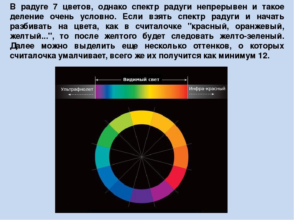 В радуге 7 цветов, однако спектр радуги непрерывен и такое деление очень усло...