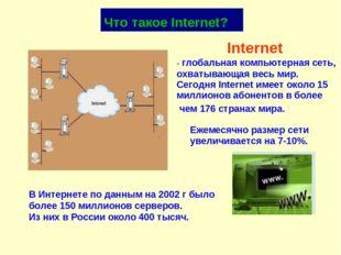 Internet - глобальная компьютерная сеть, охватывающая весь мир. В Интернете