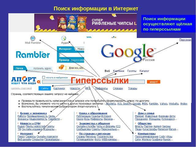Поиск информации в Интернет Гиперссылки Поиск информации осуществляют щёлкая...