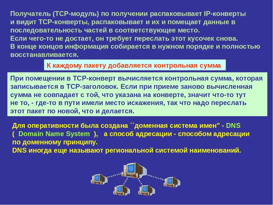 Получатель (TCP-модуль) по получении распаковывает IP-конверты и видит TCP-ко...