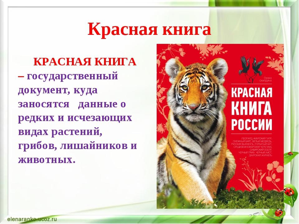 Красная книга картинки и текст
