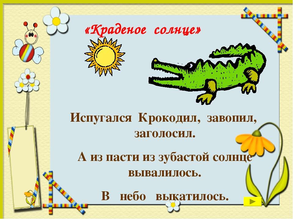 Испугался Крокодил, завопил, заголосил. А из пасти из зубастой солнце вывалил...