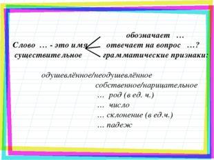 обозначает … Слово … - это имя отвечает на вопрос …? существительное граммат