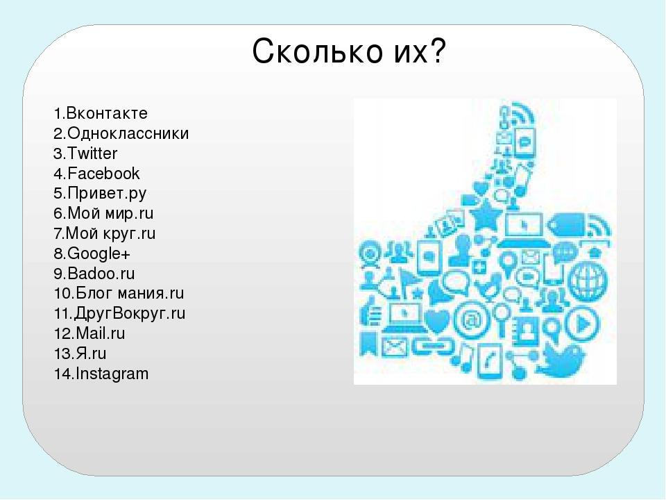 1.Вконтакте 2.Одноклассники 3.Twitter 4.Facebook 5.Привет.ру 6.Мой мир.ru 7.М...