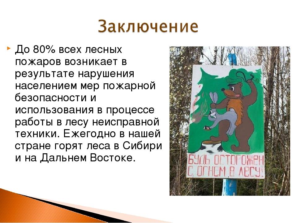 До 80% всех лесных пожаров возникает в результате нарушения населением мер по...