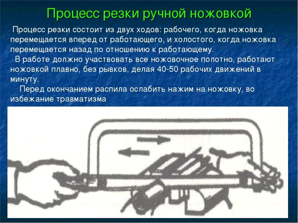 Процесс резки ручной ножовкой Процесс резки состоит из двух ходов: рабочего,...
