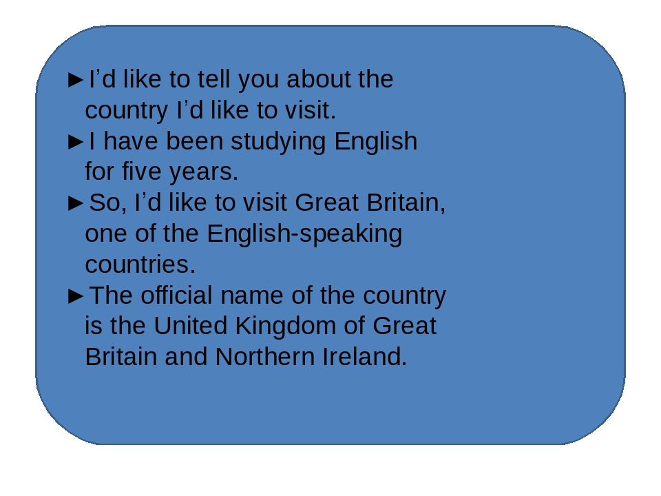 ►I'd like to tell you about the country I'd like to visit. ►I have been stud...