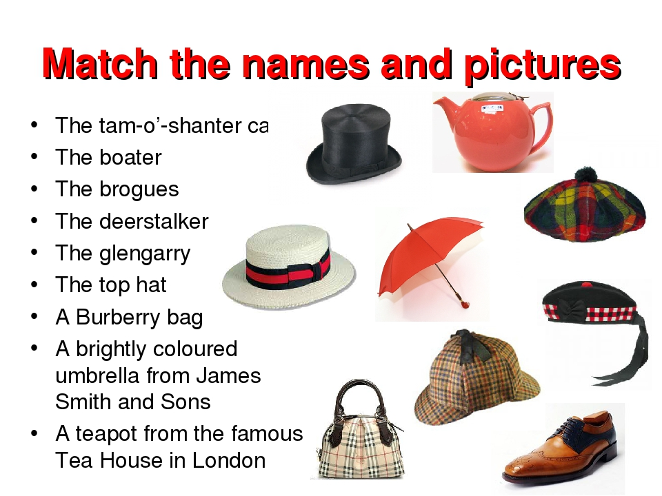 Match the names and pictures The tam-o'-shanter cap The boater The brogues Th...