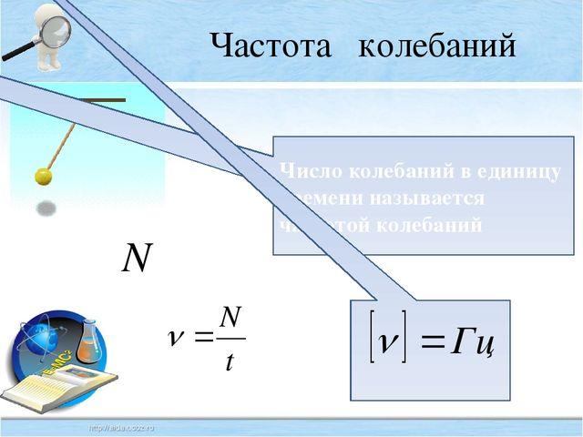 Частота колебаний Число колебаний в единицу времени называется частотой колеб...