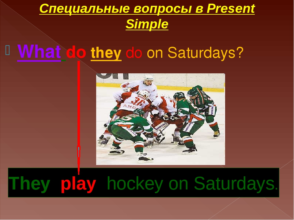 What do they do on Saturdays? They play hockey on Saturdays. Специальные вопр...