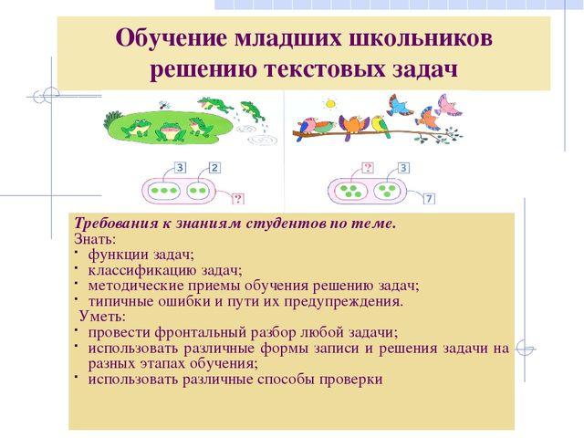 Методические приемы обучения младших школьников решению задач решение задачи 22 по математике 9 класс