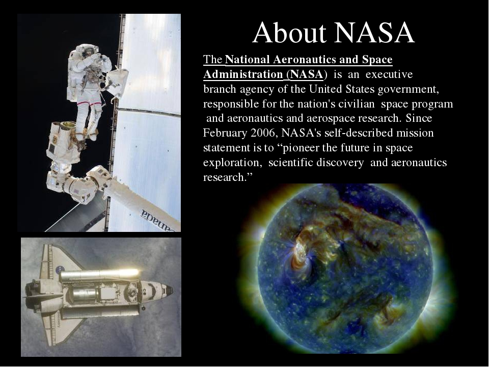 an introduction to the history of national aeronautics and space administration Introduction the national aeronautics and space administration (nasa) is an agency of the us government it was organized in 1958 for the research and development of space exploration.