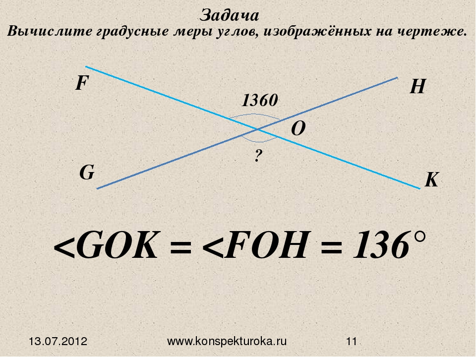 13.07.2012 www.konspekturoka.ru G F O H K 1360 ? Задача Вычислите градусные м...