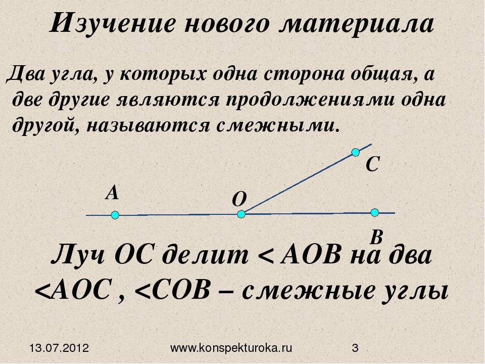 13.07.2012 www.konspekturoka.ru Луч ОС делит < АОВ на два