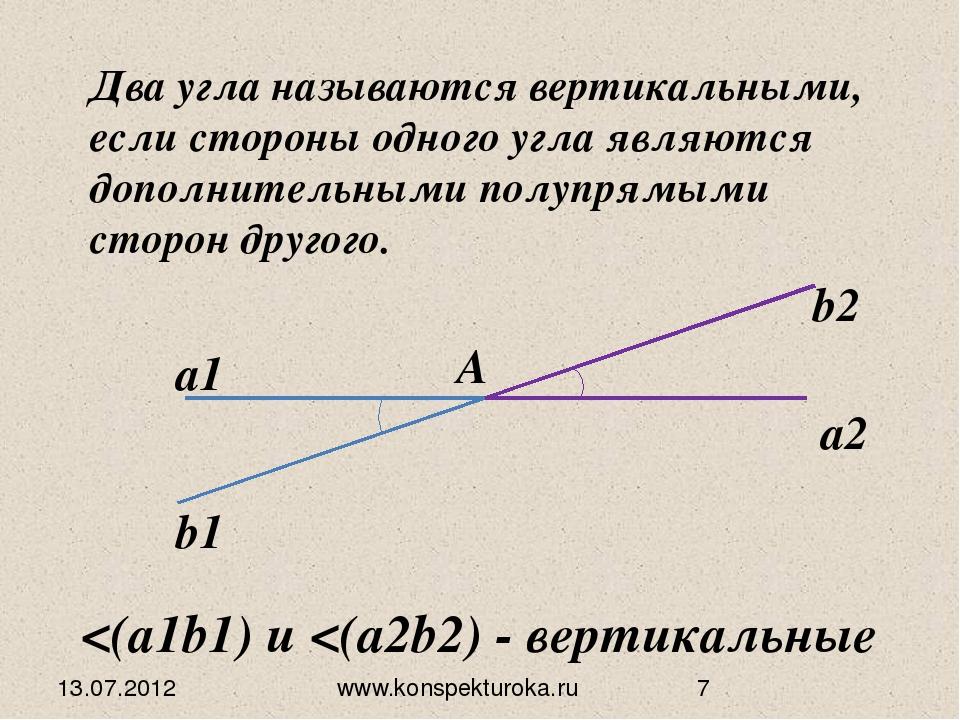 Два угла называются вертикальными, если стороны одного угла являются дополнит...