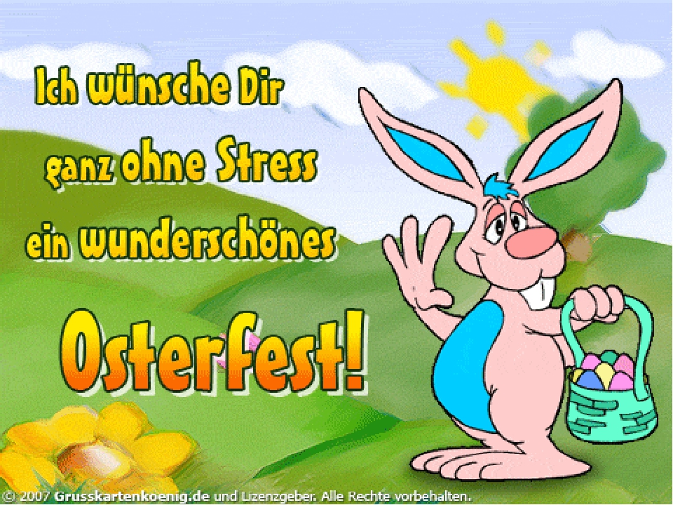 Картинки, открытка к пасхе на немецком языке с открыткой